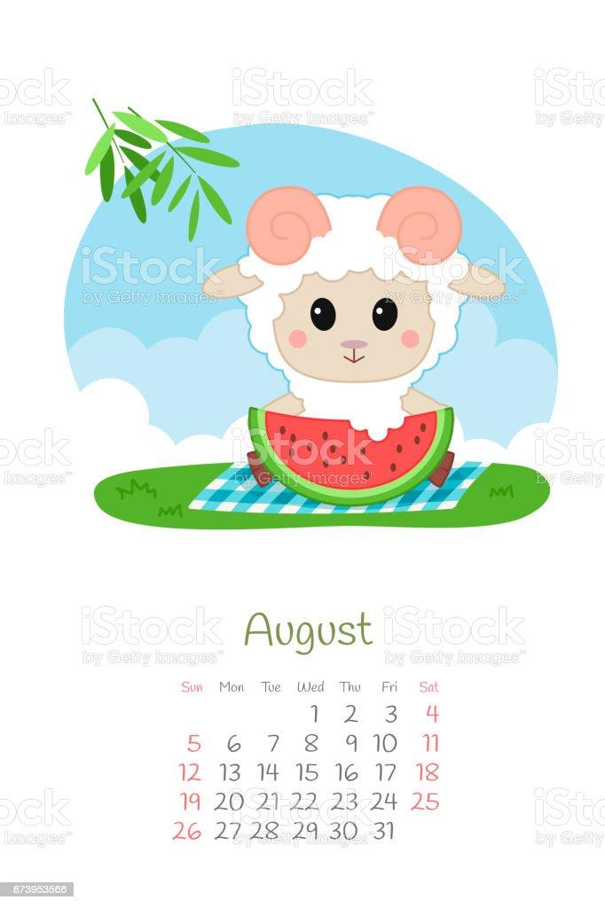 Calendar 2018 months August with sheep vector art illustration