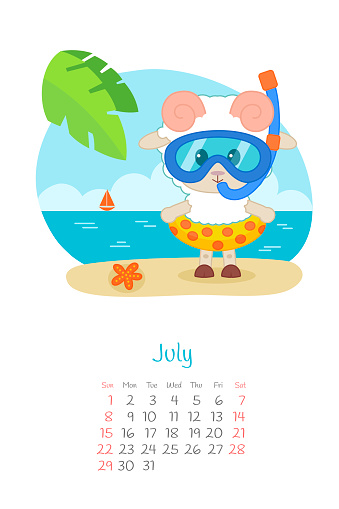 Calendar 2018 months July with sheep