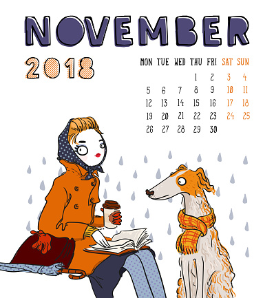 Calendar 2018, november month. Season girl with dog . Vector illustration