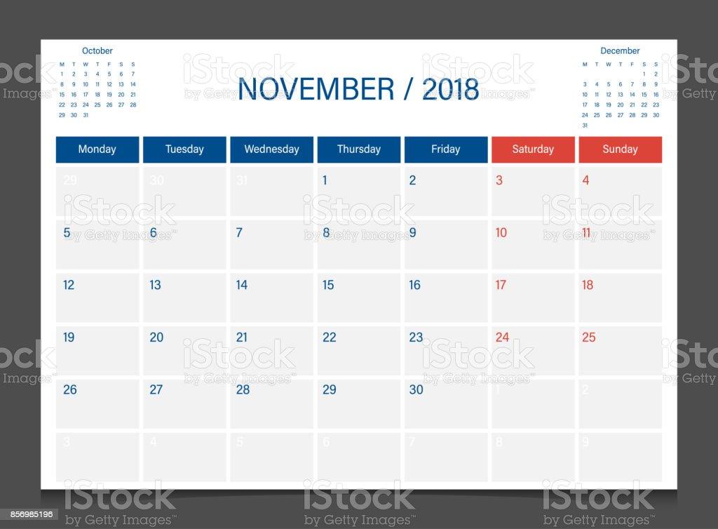 calendar 2018 november week start on monday calendar planner corporate design template royalty