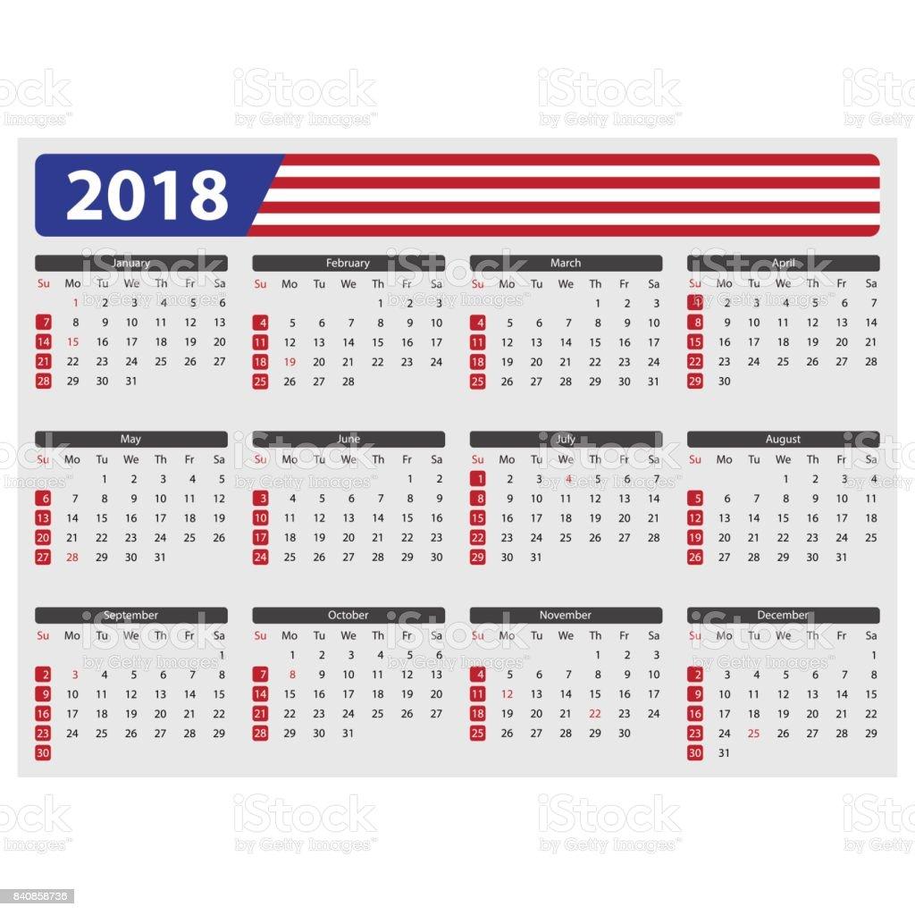 Calendario De Estados Unidos 2018 Festivos - Arte