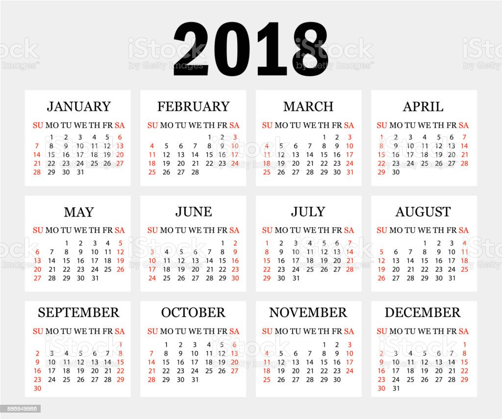 Calendar 2018 Simple Calendar Template For Year 2018 Gray Background