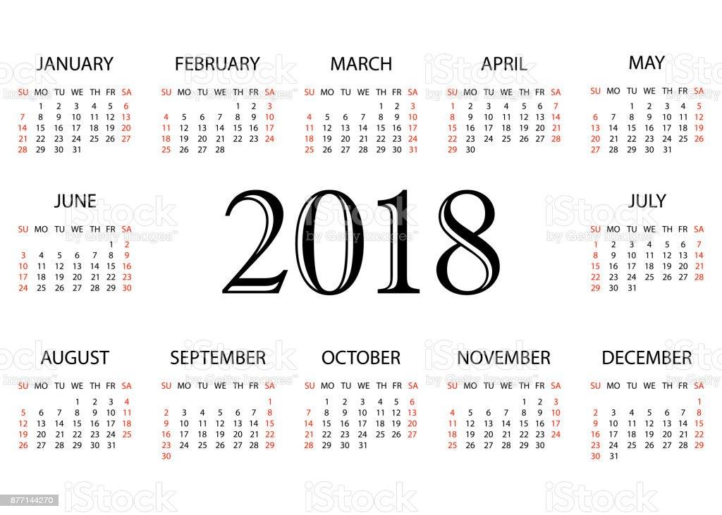 Kalender 2018 Einfache Kalendervorlage Für Das Jahr 2018 Weißen ...