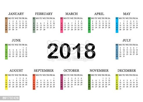 Calendar 2018 Simple Calendar Template For Year 2018 White
