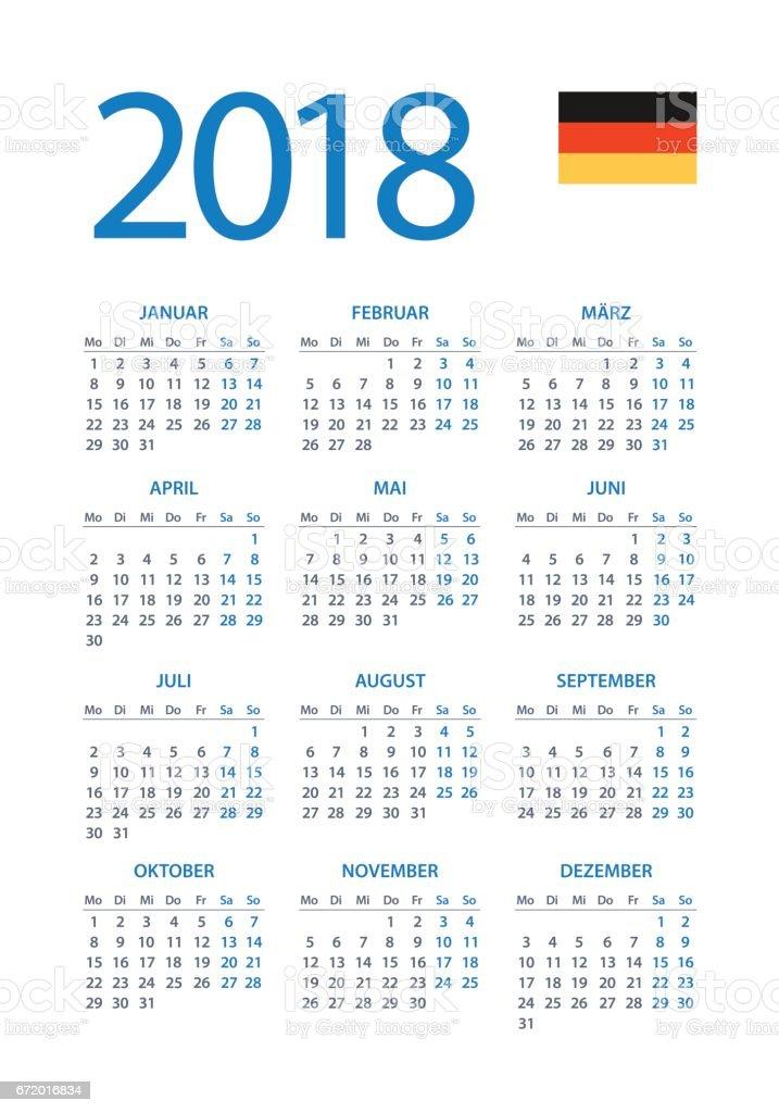 kalender 2018 einfach deutsche version stock vektor art. Black Bedroom Furniture Sets. Home Design Ideas