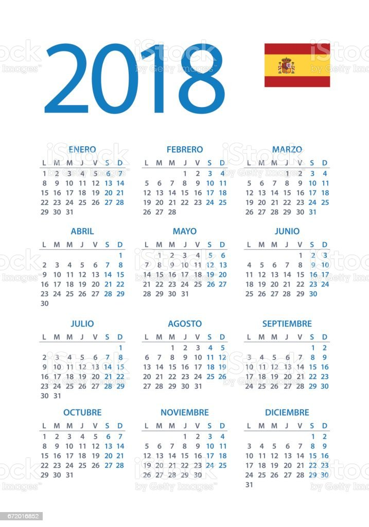 calendar 2018 simple spanish version royalty free calendar 2018 simple spanish version stock vector