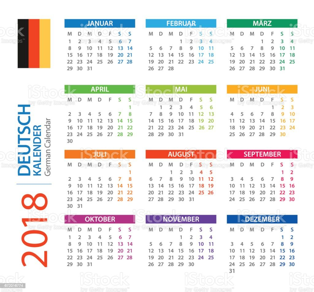 calendar 2018 square german version royalty free calendar 2018 square german version stock vector