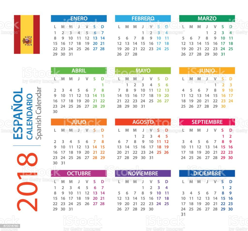 calendar 2018 square spanish version royalty free calendar 2018 square spanish version stock vector