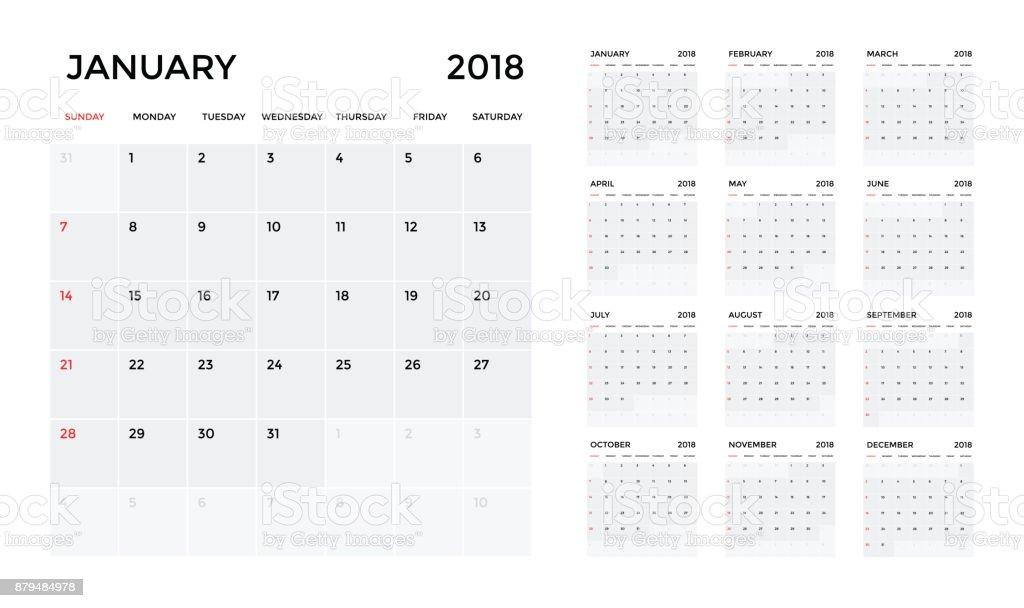 Calendar 2018 template. Calendar planning week. vector vector art illustration
