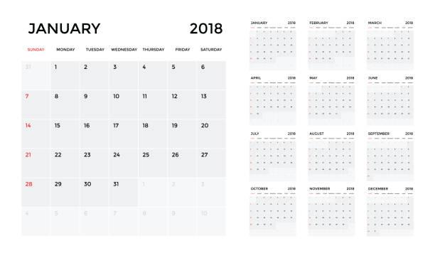 kalender 2018 vorlage. planung kalenderwoche. vektor - monatskalender stock-grafiken, -clipart, -cartoons und -symbole