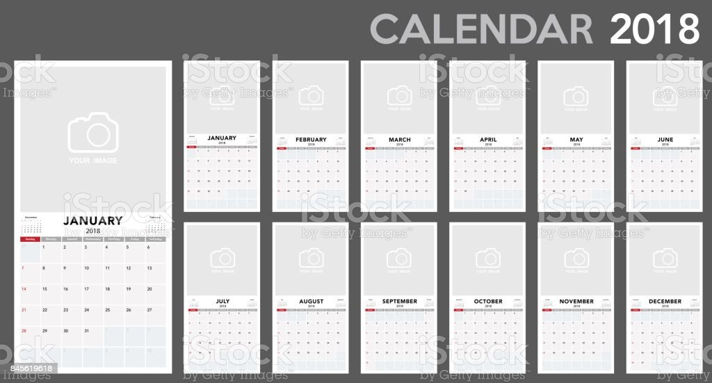 Calendar 2018 template design. vector art illustration