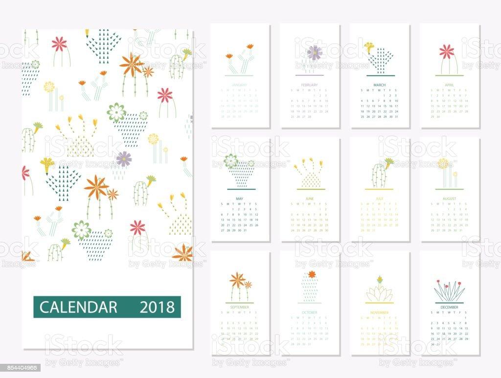 Plantilla calendario 2018 - ilustración de arte vectorial