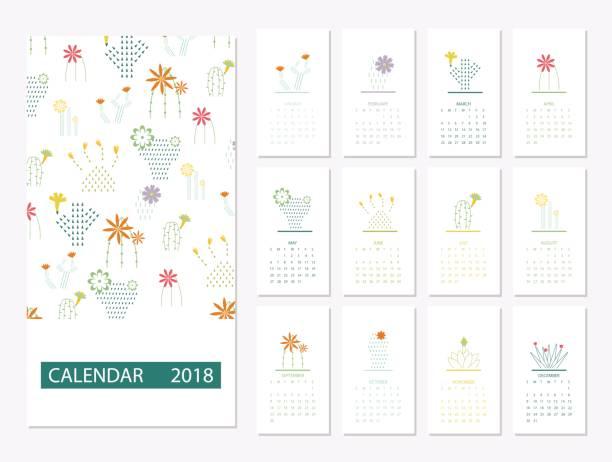 ilustraciones, imágenes clip art, dibujos animados e iconos de stock de plantilla calendario 2018 - calendario de flores