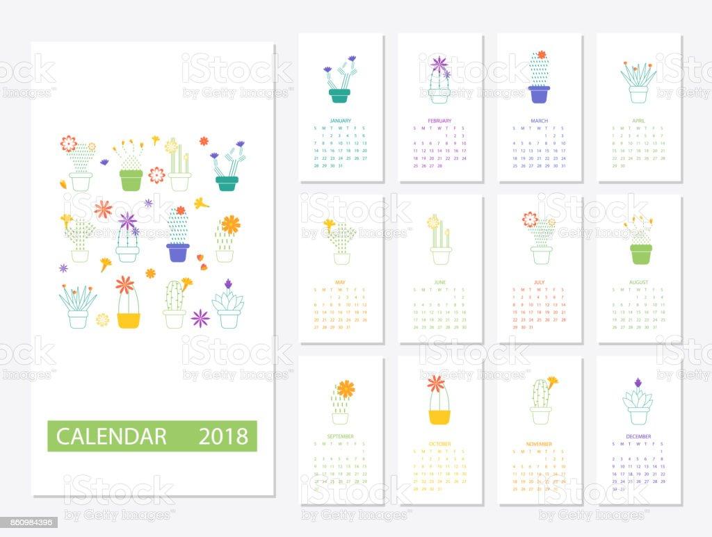 Ilustración De Plantilla Calendario 2018 Y Más Vectores