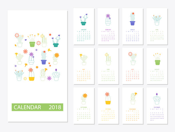 Calendar 2018 template vector art illustration