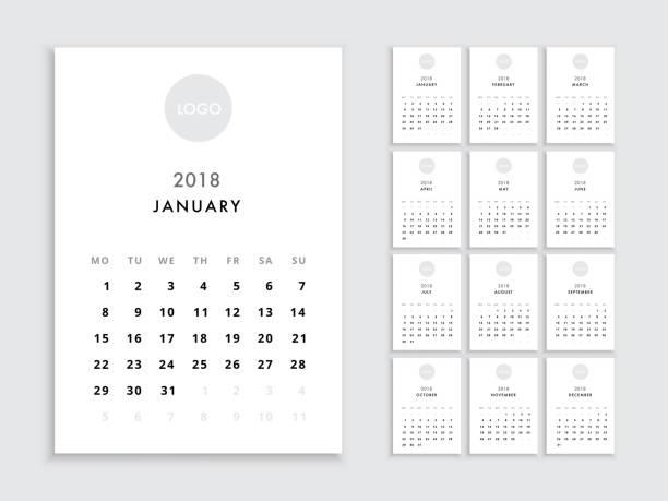 vorlage kalender 2018 - kalendervorlage stock-grafiken, -clipart, -cartoons und -symbole