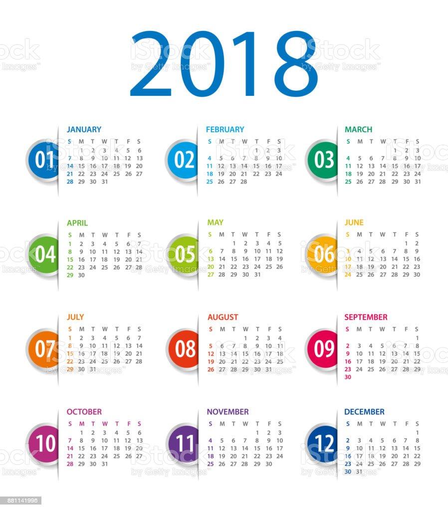 Calendar 2018 Template. Week starts on Sunday vector art illustration