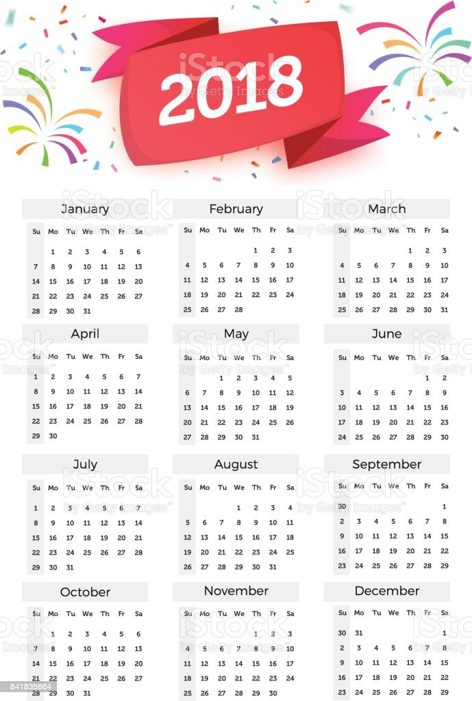 Calendar 2018 Vector Celebration Template With Week Starting On