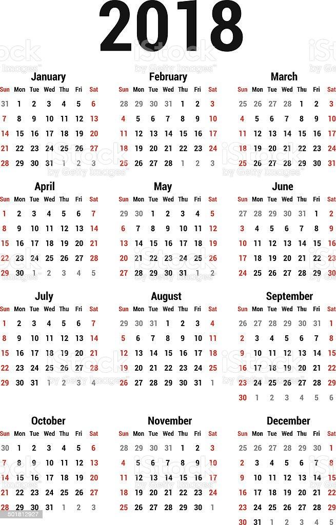 Calendar 2018 Stock Vector Art Amp More Images Of 2018