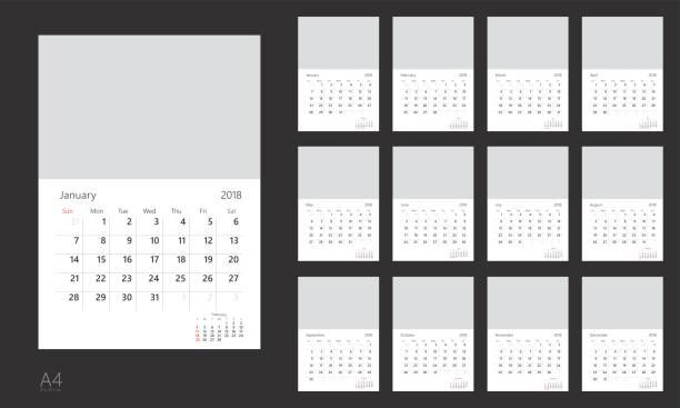 kalender 2018 - kalendervorlage stock-grafiken, -clipart, -cartoons und -symbole