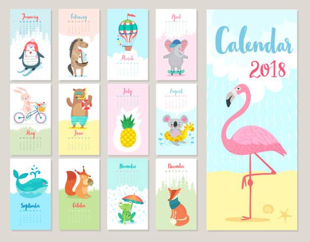 calendar 2018. - animals calendar stock illustrations, clip art, cartoons, & icons