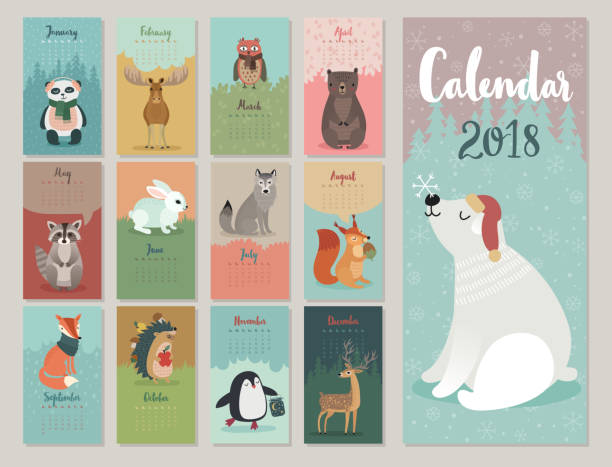 calendar 2018. - birds calendar stock illustrations, clip art, cartoons, & icons