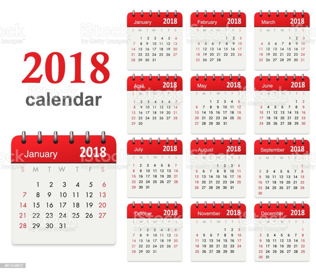 Calendar 2018 vector art illustration