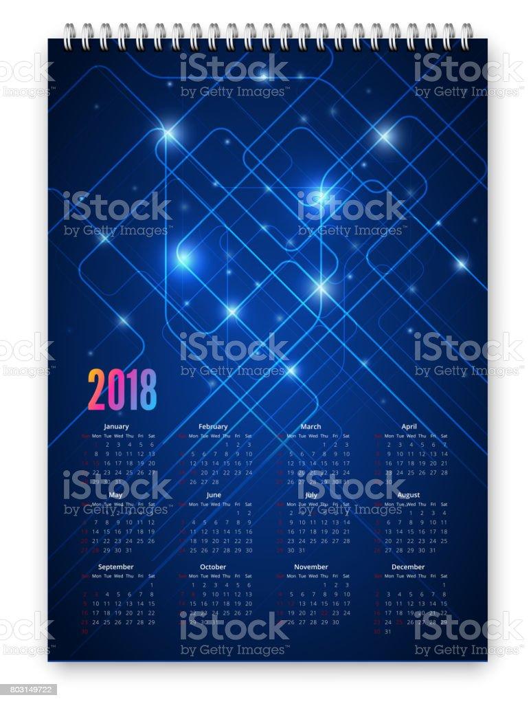 Calendar 2018 Vector vector art illustration