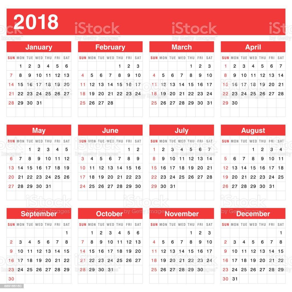 Calendar 2018 - Vector vector art illustration