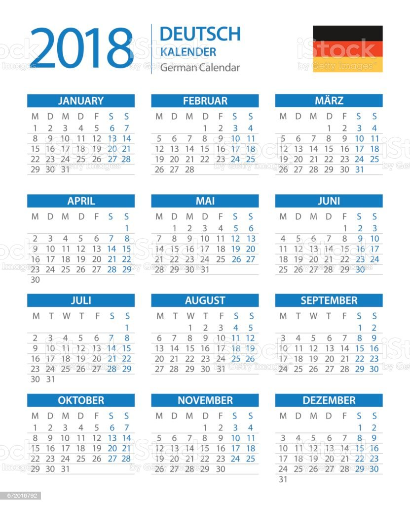calendar 2018 verical blue german version royalty free calendar 2018 verical blue german version