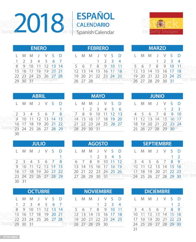 calendar 2018 vertical blue spanish version royalty free calendar 2018 vertical blue spanish version