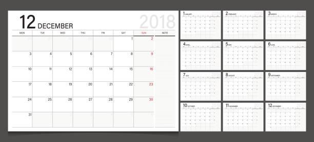 kalender 2018 wochenstart am montag. kalender-planer-corporate design-vorlage. - monatskalender stock-grafiken, -clipart, -cartoons und -symbole