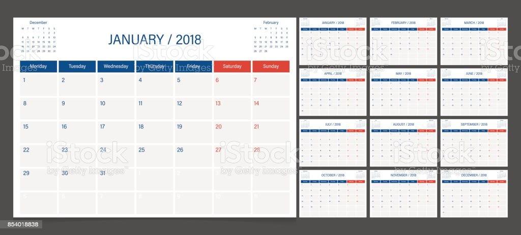 Calendar 2018 week start on Monday. Calendar planner corporate design template. vector art illustration