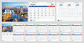 Calendar 2018 week start on Monday corporate business luxury design layout template with blue ribbon and white line frame vector.