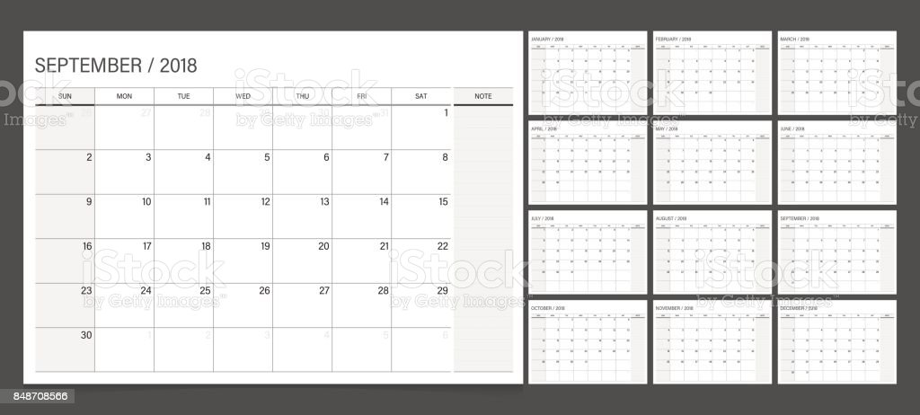 Calendar 2018 week start on Sunday. Calendar planner corporate design template. vector art illustration