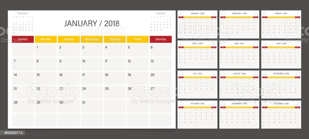 Calendar 2018 week start on Sunday. Calendar planner corporate design template. vector art illustration