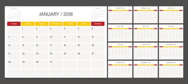 kalender 2018 wochenstart am sonntag. kalender-planer-corporate design-vorlage. - monatskalender stock-grafiken, -clipart, -cartoons und -symbole