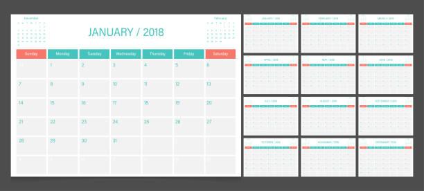 stockillustraties, clipart, cartoons en iconen met kalender 2018 week start op zondag. planner huisstijl kalendersjabloon. - 2018