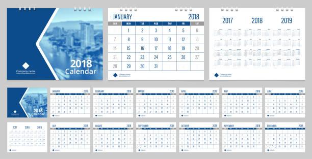 kalender 2018 wochenstart auf sonntag firmenkundengeschäft luxus design blau layout vorlage vektor. - kalendervorlage stock-grafiken, -clipart, -cartoons und -symbole