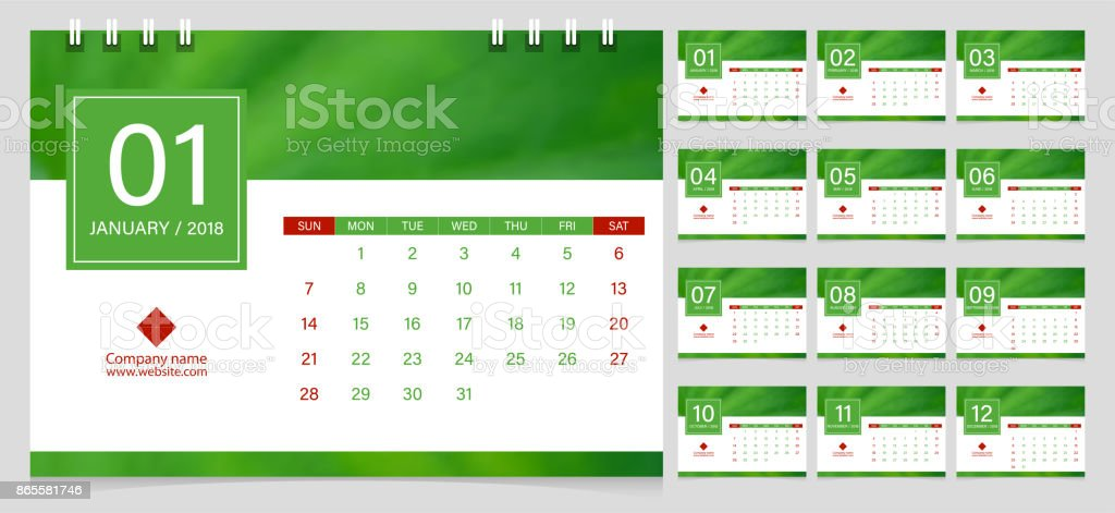 Calendar 2018 Week Start On Sunday Corporate Business Luxury Design Layout  Template Vector. Green Leaf  Calendar Sample Design