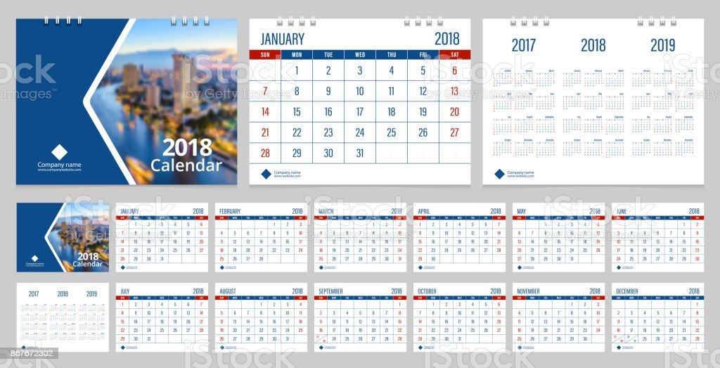 Calendar 2018 week start on Sunday corporate business luxury design blue color layout template vector. vector art illustration