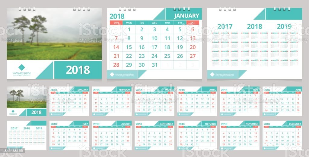 Calendar 2018 Week Start On Sunday. Desk Calendar For Corporate Business  Design Green Concept Color  Calendar Sample Design