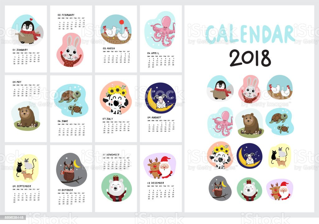 Calendar 2018 with cute animal vector art illustration