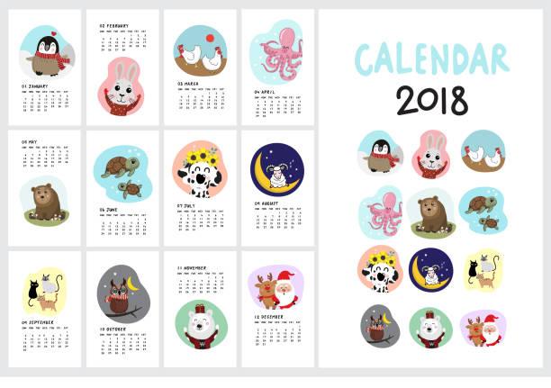 ilustrações, clipart, desenhos animados e ícones de calendário de 2018 com animal bonito - calendário de vida selvagem