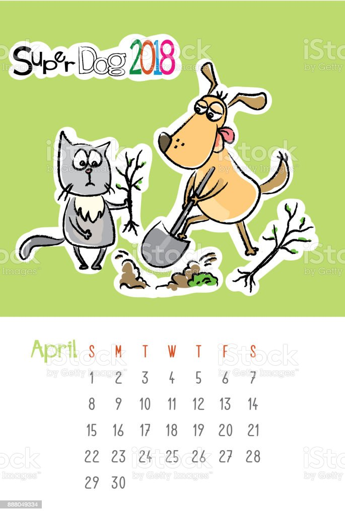 Calendar 2018 with cute funny dog and sad cat vector art illustration
