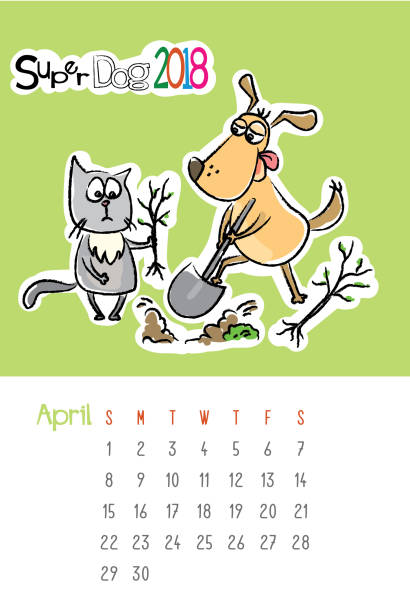 calendar 2018 with cute funny dog and sad cat - wildlife calendar stock illustrations, clip art, cartoons, & icons