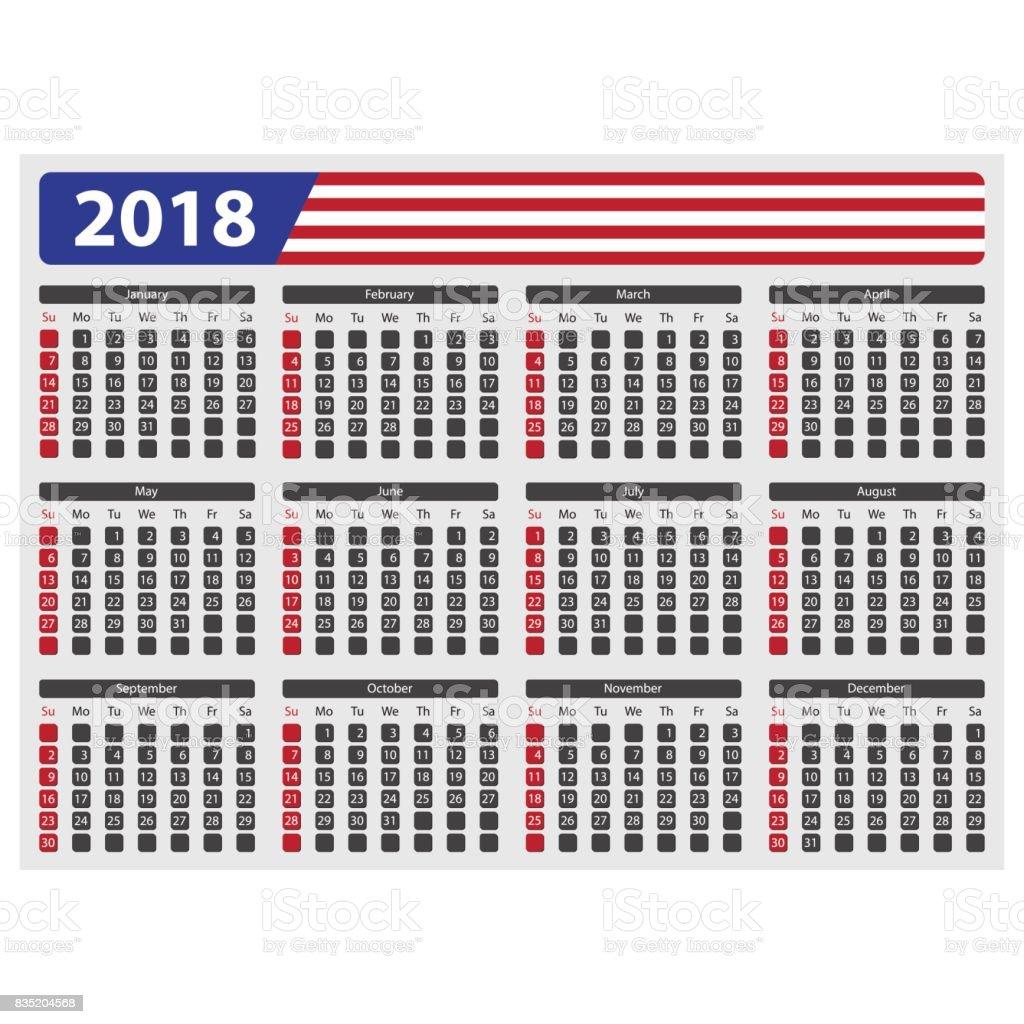 Calendario De Estados Unidos 2018 Sin Festivos - Arte