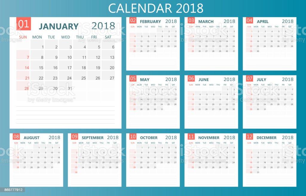 Calendar 2018 Year In Simple Style Calendar Planner Design Template ...