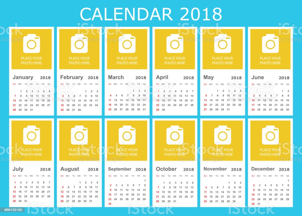 Planner Style Calendar Template : Calendar year in simple style planner design