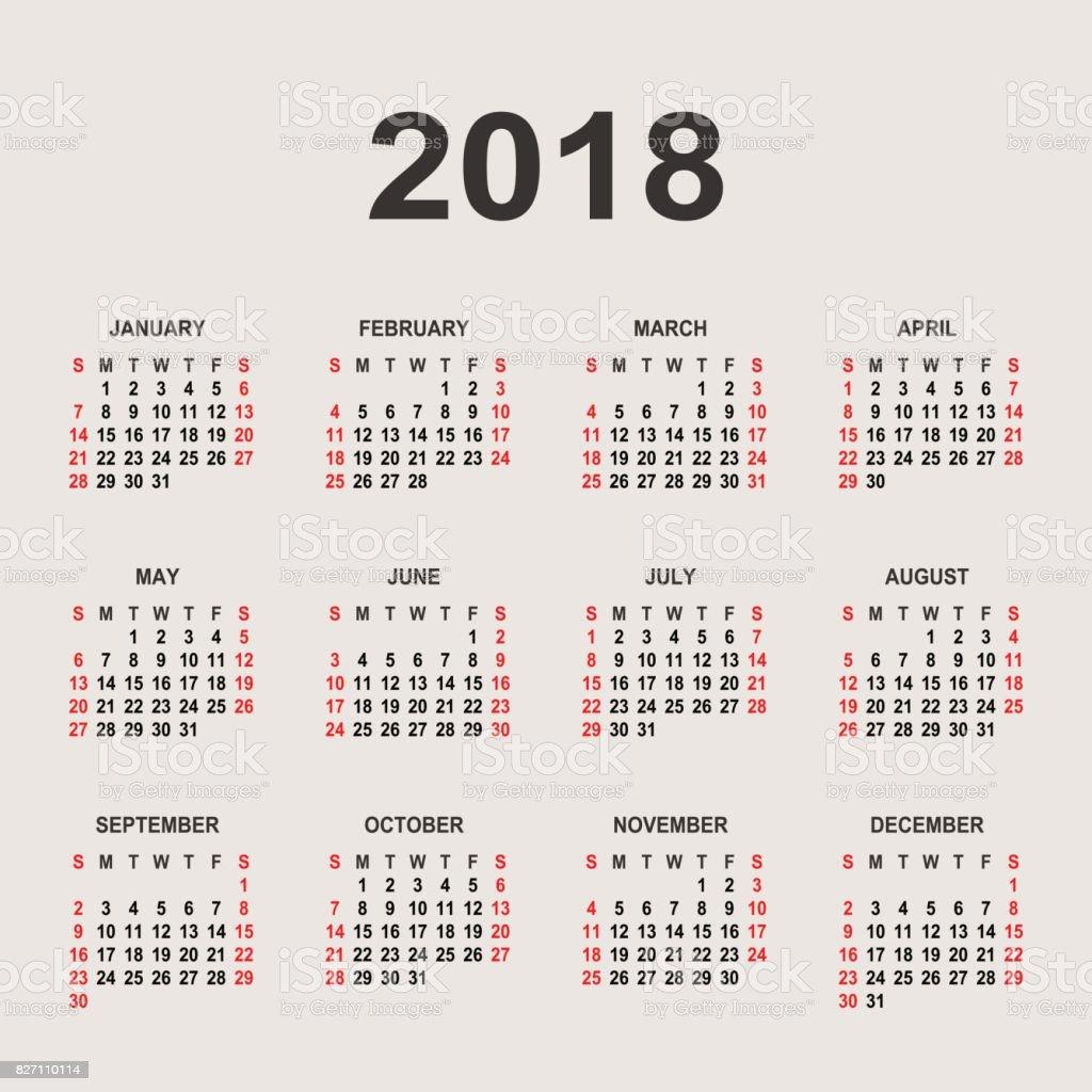 Plantilla De Diseño De Vectores De Año Calendario 2018 - Arte ...